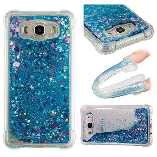 HopMore Funda Silicona para Samsung Galaxy J7 2016 (J710) Glitter Liquido 3D Brillante Purpurina Transparente Dibujo Carcasa Resistente Antigolpes Caso Protección para Chicas Mujer - Amor Azul