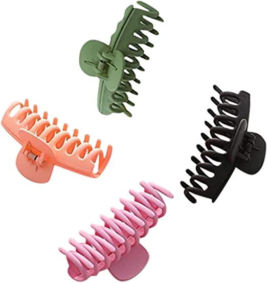 Big Hair Claw Clips 4 Inch Nonslip Large Claw Clip for Women and Girls Thick Hair, 4 Colorful Hair Accessories (4 Pcs)