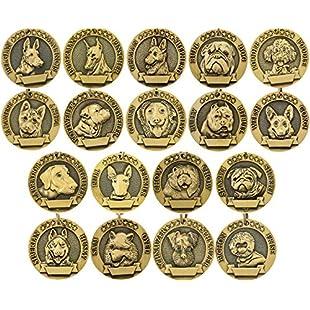 Vcalabashor Personalised Dog Tags/Bronze Classic Customized Pet Tags/Adorable Dog Head Portrait Print/Small Medium Large Breeds:Warezcrack