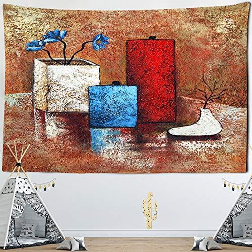 Tapiz tapiz lienzo botella abstracta pintura al óleo lienzo moderno arte de la pared decoración de la sala de estar flor rosa pintura 150x200cm