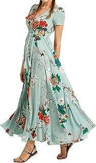 Bibowa Women Button-Down Slit Elegant Tie Swing Boho Floral Maxi Dress Party