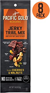 Pacific Gold Reserve Bourbon Glazed Beef Jerky Trail Mix with Cherries and Walnuts, 1.8 Ounce (Pack of 8)