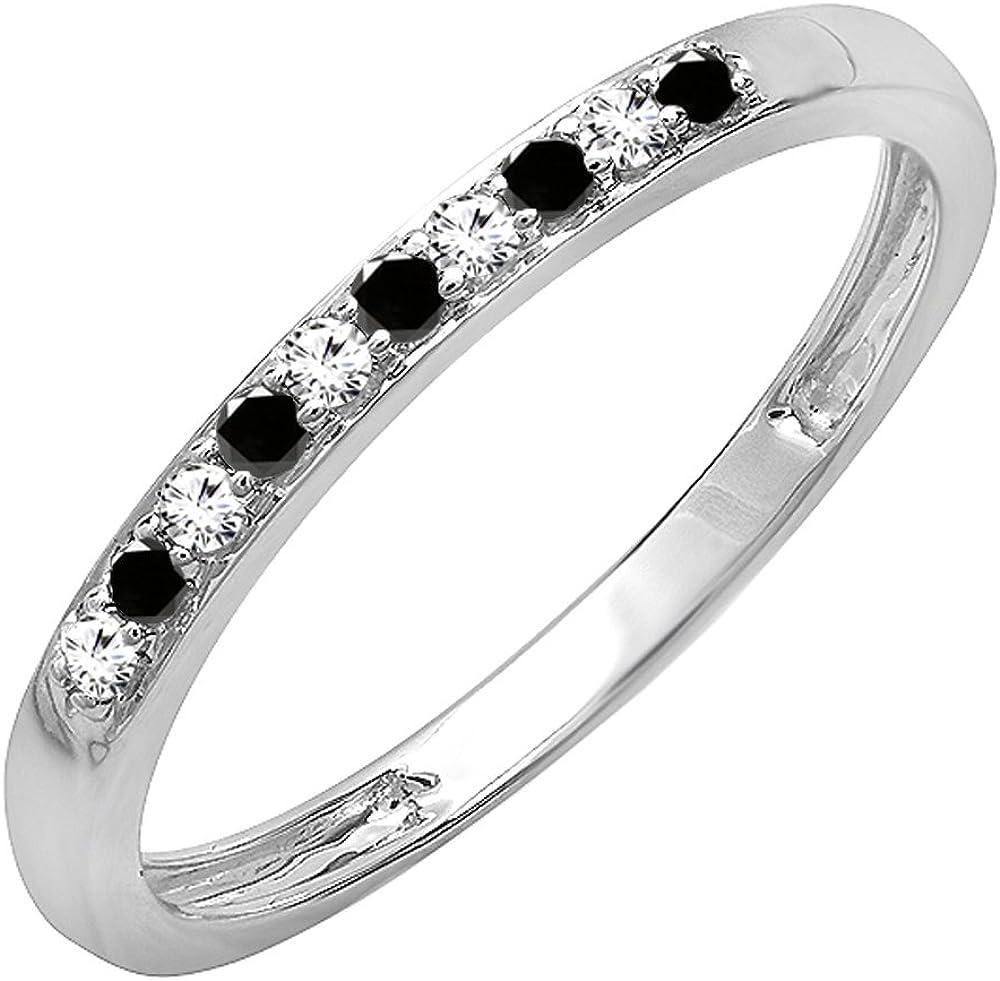 Dazzlingrock Collection 10K Round Gemstone & White Diamond Ladies Stackable Wedding Band, White Gold