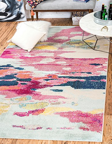 Unique Loom Estrella Collection Modern Abstract Pink Area Rug (5' 0 x 8' 0)