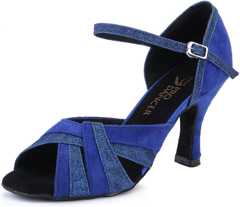 Pro Dancer Women Ballroom Dancing shoes Salsa Sandals Latin Dance Heels bluee