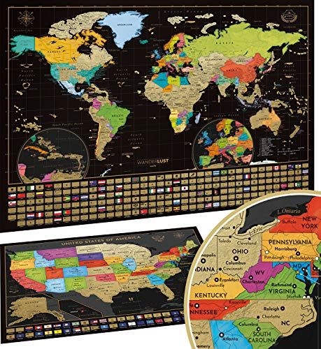 Scratch Off Map of the World + USA Map - Set of Two Deluxe Gold Scratch-Off Travel Posters with Colorful Countries, US States and Flags - Made in...