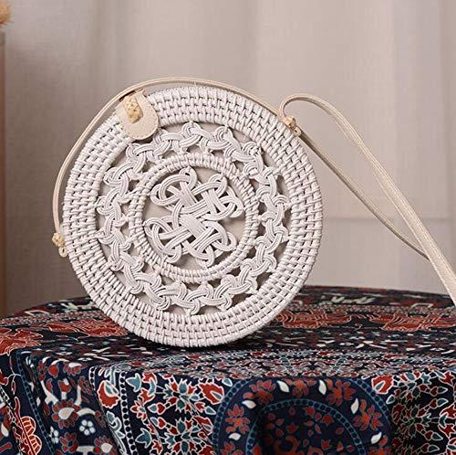 Uteruik Bolso de mensajero redondo de ratán blanco hecho a mano bolso bandolera de paja tejida a mano con cierre de ratán, 1 pieza (#D)