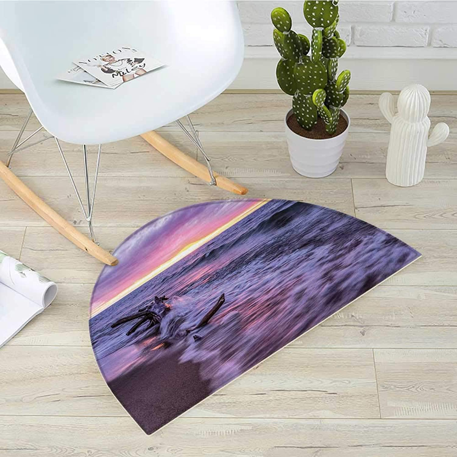 Driftwood Semicircle Doormat Driftwood Beach Landscape Wavy Sea and Cloudy Sky at Sunset Digital Image Print Halfmoon doormats H 39.3  xD 59  bluee Grey