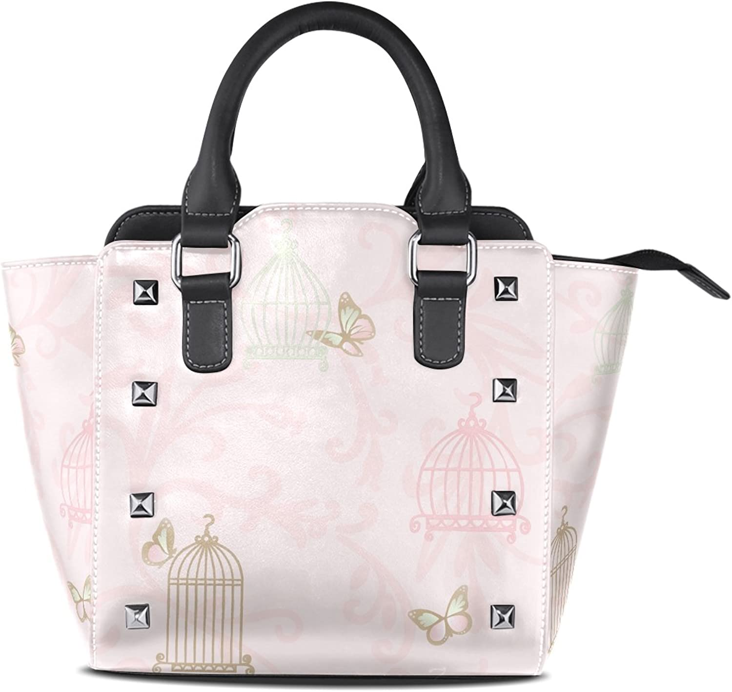 Sunlome Retro Butterfly Birdcage Print Women's Leather Tote Shoulder Bags Handbags