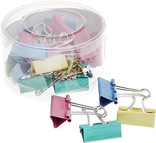 Bassk - Lote de 24 clips de clip para archivar o clips de escritorio, 32 mm de ancho, color metálico