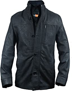 FE- Triology Black Men's Stylish Long Leather Coat - Blazer with Distressed Vintage Look