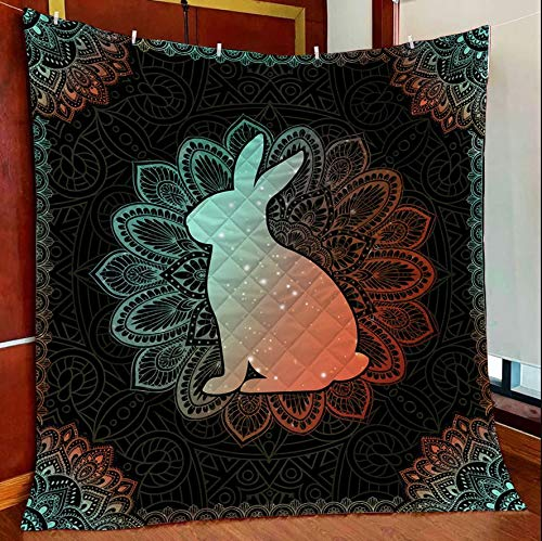 Rabbit Mandala All Season Quilts Blanket Comforters Super King - Queen - Twin Size - Best Decorative for Bed, Couch, Sofa, Chair, Swing, Daybed, Home Decor