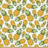 ABAKUHAUS Gelb und Weiß Stoff als Meterware, Reife Ananas,
