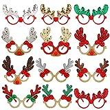 Gafas de Navidad de Novedad, 12 Piezas Gafas con Diseños de Navidad con Diseños de Navidad Kids Party Favor Lentes Gafas Cute Candy Gafas de Vacaciones Suministros de Fiesta Decoración para niños