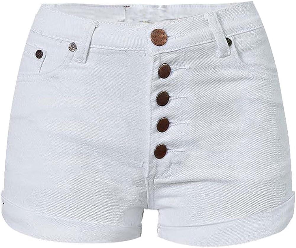 LIYT Women's Fashion White Slim Fit High Waist Denim Shorts