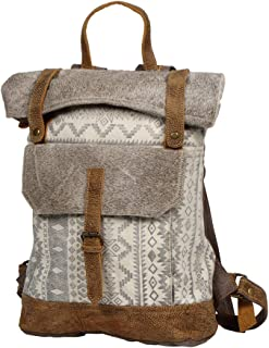Myra Bag Classy Leather & Upcycled Canvas Backpack S-1237