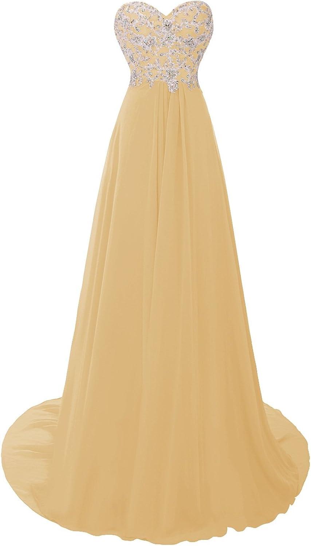 Dasior Women's Sweetheart Appliqued Sweep Train Crystals Bridal Evening Dress