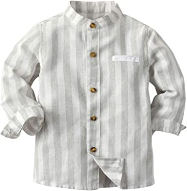 Ketamyy Bebé Niño Manga Larga con Botones Camisa, Sin Cuello ...