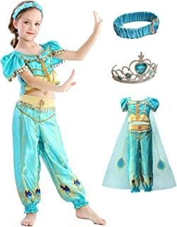 (eones style)ジャスミン衣装 子供用 アラビアン プリンセス ドレス ダンス衣装 コスチューム マント 5点セット (120cm)