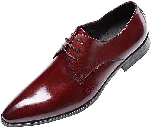 hombres Inteligente Oxford Formal Negocio para los hombres Encajes Cuero zapatos Puntiagudo Dedo del pie negro marrón Boda Oficina Trabajo