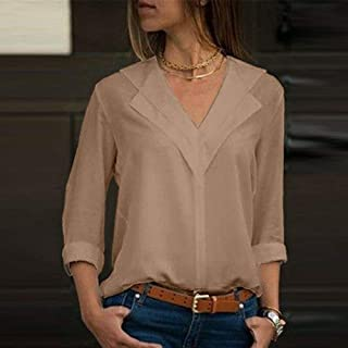FidgetGear Women Lady Chiffon Long Sleeve Blouse Summer Casual V Neck Loose Tops T Shirt US Khaki 4XL