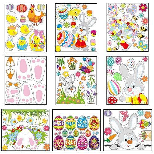 IWILCS 9 hojas de imágenes de Pascua para ventanas, de PVC, decoración para ventanas, conejos de Pascua, para habitación de los niños, puertas, escaparates y frigoríficos.