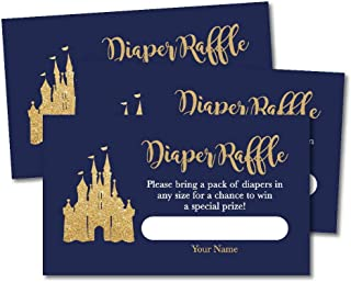 25 Prince Diaper Raffle Ticket Lottery Insert Cards for Boy Baby Shower Invitations, Navy Gold Castle Supplies and Games for Gender Party, Bring a Pack of Diapers to Win Favors, Gifts and Prizes