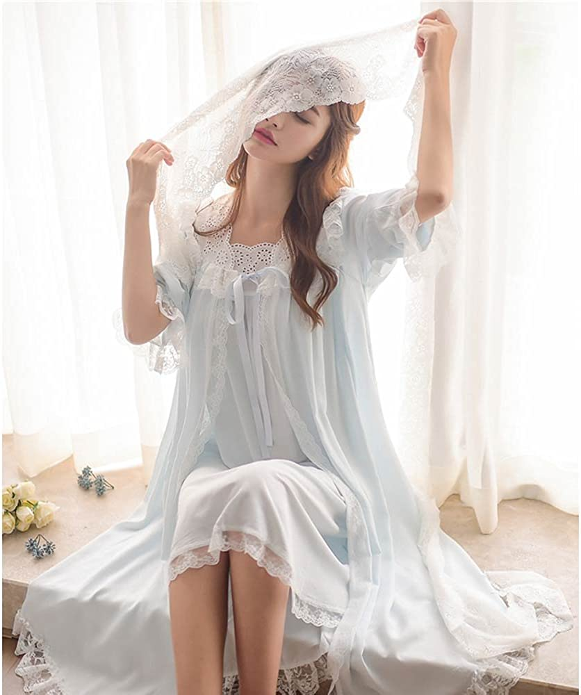 Victorian Nightgowns, Nightdress, Pajamas, Robes Womens Victorian Nightgown Vintage 2 pcs Sleepwear Nightdress Robes Royal Pajamas Lounge Wear Blue $34.99 AT vintagedancer.com