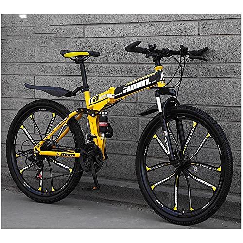 Bicicleta De Montaña, Velocidad Variable Doble Amortiguador, Bicicleta De Bicicleta De Montaña Redonda Integrada-(10 Top De Rueda De Cuchillo) Amarillo Negro_27 Velocidad (Por Defecto De 26 Pulgadas),