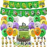Hilloly 43 Pcs Plantas Vs. Zombies Set de Decoración de Fiesta, Plantas contra Zombies Suministros para Fiestas Suministros para Fiesta de cumpleaños para niños, Incluido Globo Banner Kit