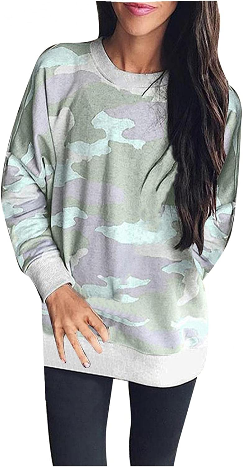 Women Sweatshirts Crew Neck Fashion Camouflage Printed Pullover Long Sleeve Loose Blouses Tops