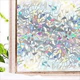 N / A Película de Ventana Efecto Arco Iris privacidad Etiqueta de Vidrio estático Adhesivo térmico extraíble película de Vinilo decoración del hogar película en Ventana extraíble baño A34 60x100cm