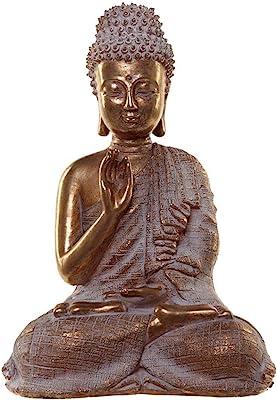 Puckator Thai Buddha Figurine-Gold and White Serenity, Height 23cm Width 16cm Depth 10.5cm, Multi