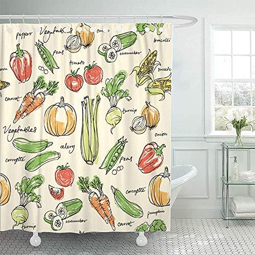 Not applicable Duschvorhang Lebensmittel Verschiedene Gemüse Bio Ges&es Kochen Karotte Frische Duschvorhänge Sets Mit Haken,72X72 In