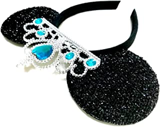 MeeTHan Princess Tiara Crown Sparkling Sequin Cat Mouse Ears Headbands Hair pieces : M6 (Black-Blue-L)