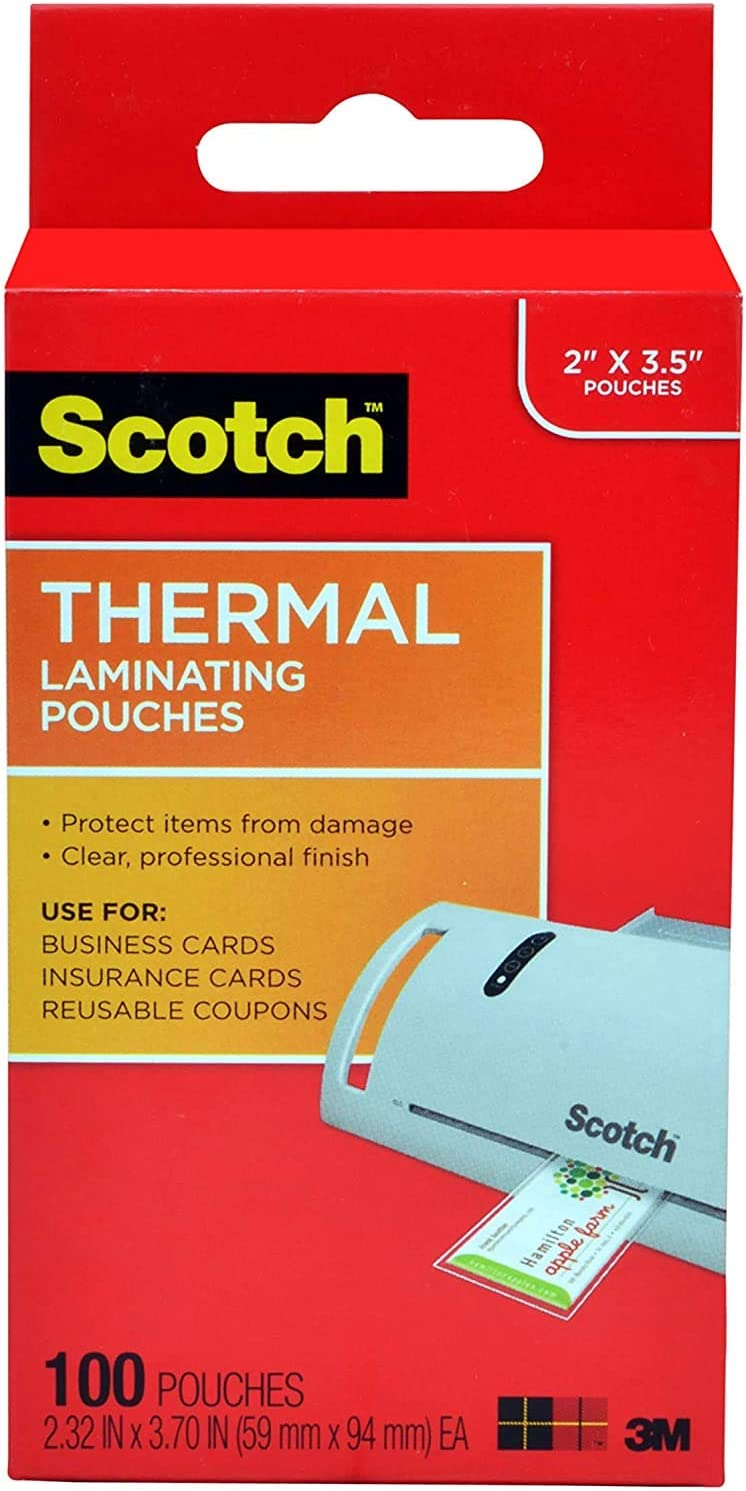 2.32 x 3.70-Inches Scotch TP5851-100 Thermal Laminating Pouches Business Card Size 100-Pack- .100-Pouches 5 Mil Thick for Extra Protection