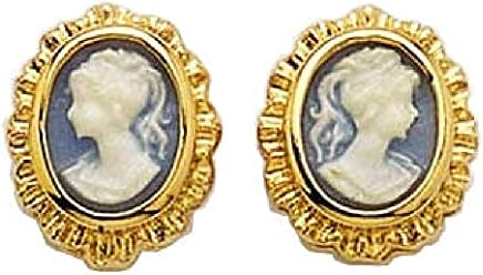 15ffb4038 So Chic Jewels - 18k Gold Plated Blue Cameo Stud Earrings