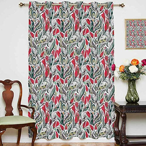 Retro Sliding Door Curtain Colorful Boho Flowers Pattern Swirl Leaves with Modern Artsy Floral Pattern Grommets Panels Printed Curtains ,Single Panel 52x84 inch,for Kid's RoomGrey and Hot Pink