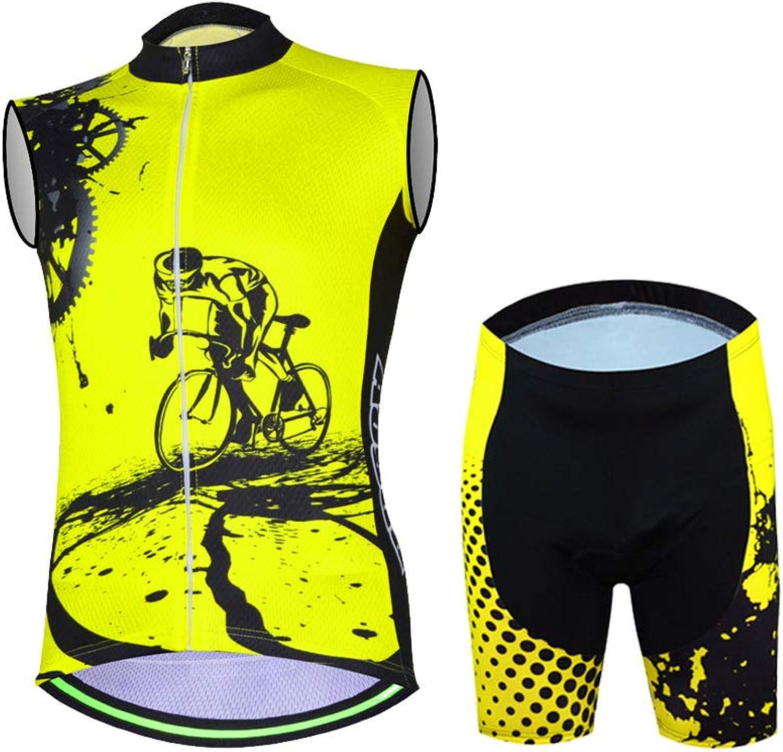 TZTED Radtrikot Herren rmellos, Atmungsaktiv Groe Gren Jersey Radhose mit 3D Sitzpolster MTB Fahrradbekleidung