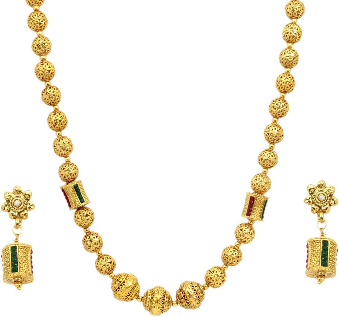 SANARA Indian Traditional Wedding Gold Plated Ethnic Green Temple Mala Necklace Earring Set Women South Indian Jewelry