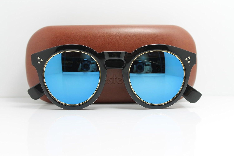 Illesteva SUNGLASSES Handmade  Mod.LEONARD 2 RING BLACK blueE MIRROR 50 mm