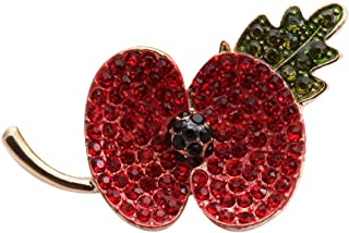 SenFai Fashion Royal British Legion Brooch Diamante Crystal Poppy Flower Brooch Pins