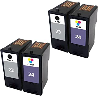 ESTON Combo Set for Lexmark Ink Cartridges 23 24 Black/Color (4Pack) Fit for Lexmark Printer X3430 X3530 X4530 X4550