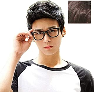 BERON New Fashion Cool Men Boys Short Synthetic Wig for Cosplay Party Photo Come with Wig Cap (Dark Brown)