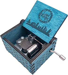 Mini Size Music Box Hand Crank Musical Box Carved Wooden Musical Box for Gift,Blue