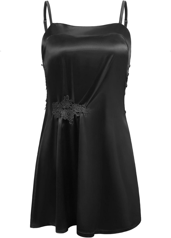 Elaver Satin Nightgown Women's Silk Sleepwear Sexy Lingerie Dress SXXL