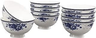 ufengke 12oz Blue and White Porcelain Soup,Cereal Bowls,Set of 10,4.5