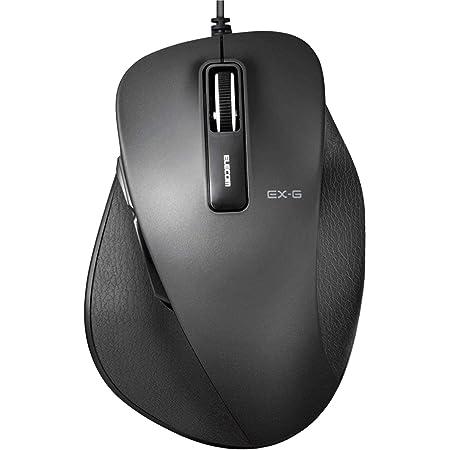 エレコム マウス 有線 Lサイズ 5ボタン (戻る・進むボタン搭載) BlueLED 握りの極み ブラック M-XGL10UBBK
