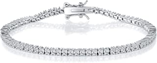 GMESME 18K White Gold Plated 2.0 Round Cubic Zirconia Classic Tennis Bracelet 7.5 Inch