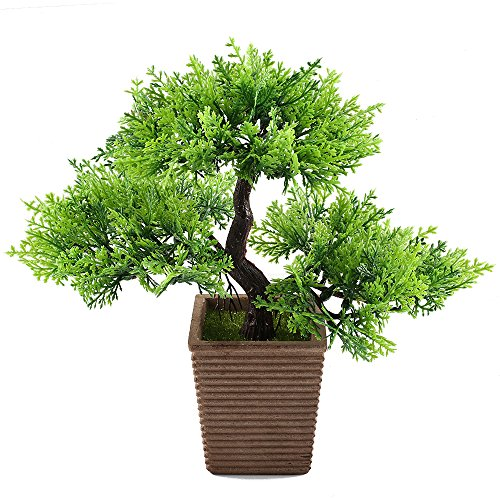 GTIDEA 10.6 inches Artificial Cedar Bonsai Trees Fake Potted Plants Indoor Evergreen Home Office Table Feng Shui Greenery Decor